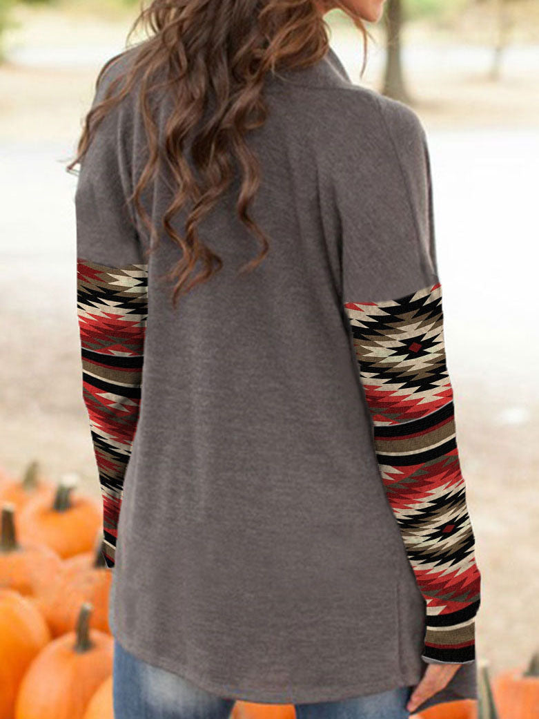 Women's Western Print Long Sleeve Cardigan