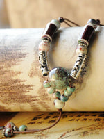 Load image into Gallery viewer, Women's hand-woven ethnic ceramic beads long necklace sweater chain
