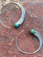 Load image into Gallery viewer, Women's Cowboy Style Silver Turquoise Earrings