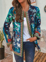 Load image into Gallery viewer, Autumn And Winter Retro Print Stitching Long-Sleeved Coat Jacket Cardigan