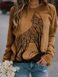 Wolf printed crew neck casual sweatshirt