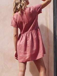 Ladies Button Simple V-Neck Cotton And Linen Dress