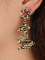 Load image into Gallery viewer, Fashion retro diamond flower butterfly earrings