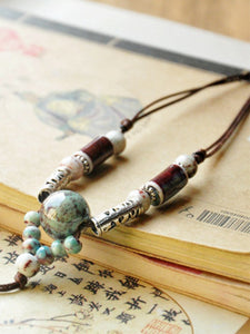 Women's hand-woven ethnic ceramic beads long necklace sweater chain