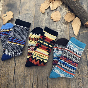 Men's Ethnic Style Totem Pattern Print Thicken High-top Socks
