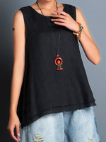 Load image into Gallery viewer, Asymmetrical Hem Sleeveless Crew Neck Shirts