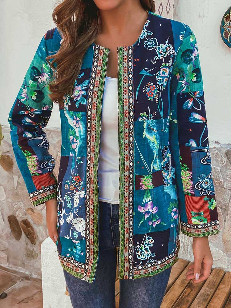 Autumn And Winter Retro Print Stitching Long-Sleeved Coat Jacket Cardigan