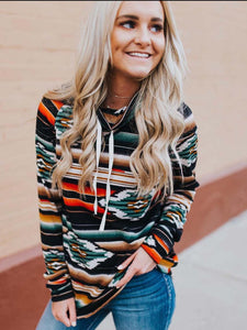Women's Aztec Cowl Neck Lace-up Pullover