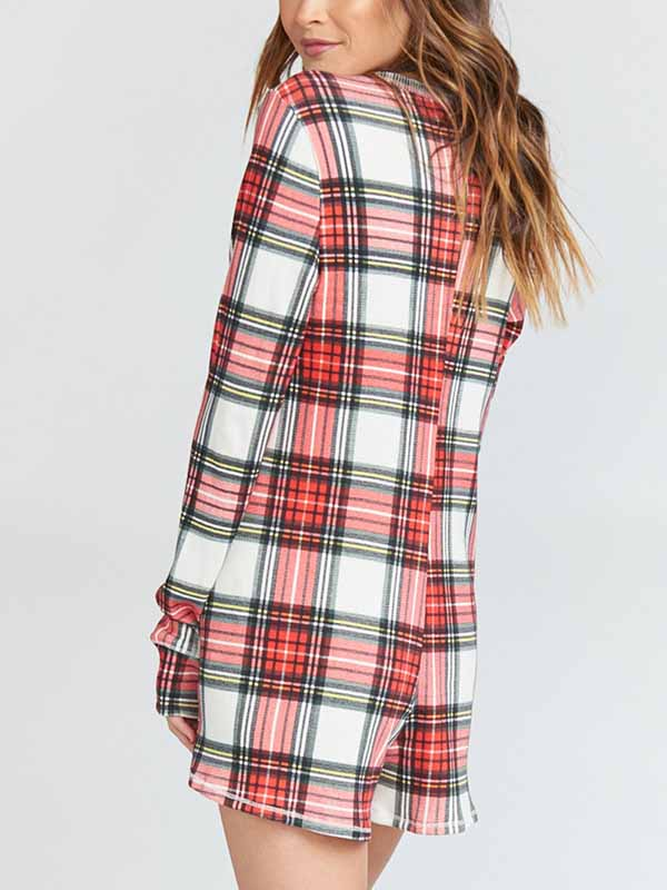 Christmas Plaid Print Long Sleeve Jumpsuit