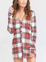 Load image into Gallery viewer, Christmas Plaid Print Long Sleeve Jumpsuit