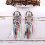 Load image into Gallery viewer, Bohemian Feather Tassel Earrings