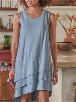 Load image into Gallery viewer, Women's Multi-layer Asymmetric Loose Sleeveless Cotton Linen Dress