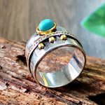 Load image into Gallery viewer, Ladies Vintage Thai Silver Turquoise Two-tone Ring