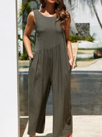 Load image into Gallery viewer, Ladies Sexy Backless Cotton Linen Loose Jumpsuit