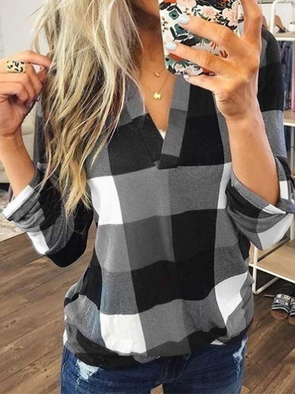 NEW Fashion Women V Neck Blouse Plus Size Tops