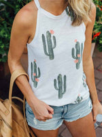 Load image into Gallery viewer, Women's Cactus Print Sleeveless Casual Vest