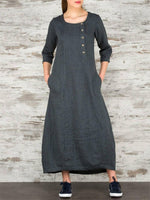 Load image into Gallery viewer, Round Neck 7-Sleeve Cotton Linen Dress