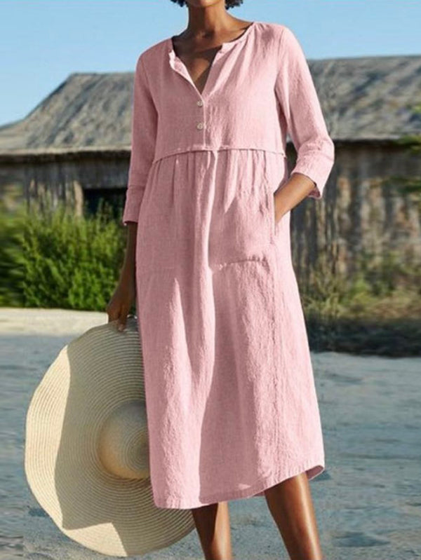 Button Down 3/4 Sleeve Pockets Midi Dress
