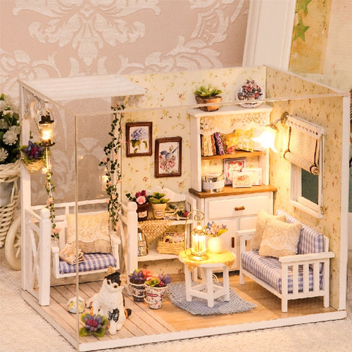 Doll House Furniture Diy Miniature 3D Wooden Miniaturas Dollhouse Toys for Children Birthday Gifts Casa Kitten Diary H013 - fab2