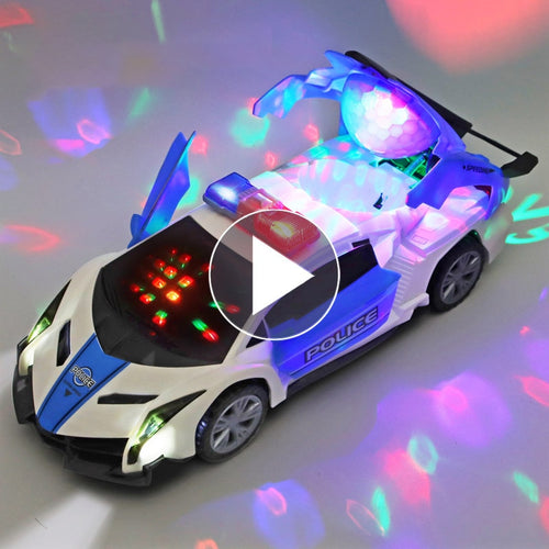 Electric dancing deformation rotating universal police car toy car boy toy child kid girl car Christmas birthday gift - fab2