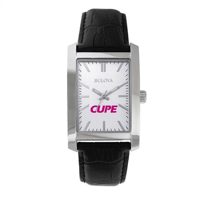 CUPE Bulova Rectangular Leather Strap Watch - Universal Promotions Universelles