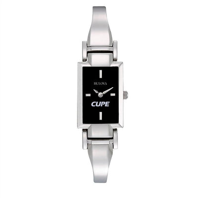 Women's CUPE Bulova Rectangular St Steel Bracelet Watch - Universal Promotions Universelles