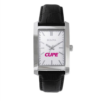 Women's CUPE Bulova Rectangular Leather Strap Watch - Universal Promotions Universelles