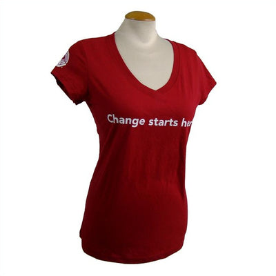 Women's United Way V-Neck T-Shirt Change Starts Here - Universal Promotions Universelles