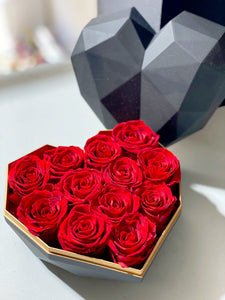Preserved rose in Heart shape gift box