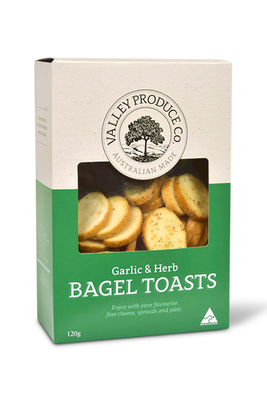 Garlic Herb Bagel Toasts by Valley Produce Company