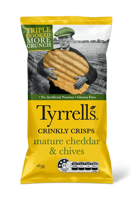 Mature Cheddar Chives Crinkly Crisps by Tyrrells