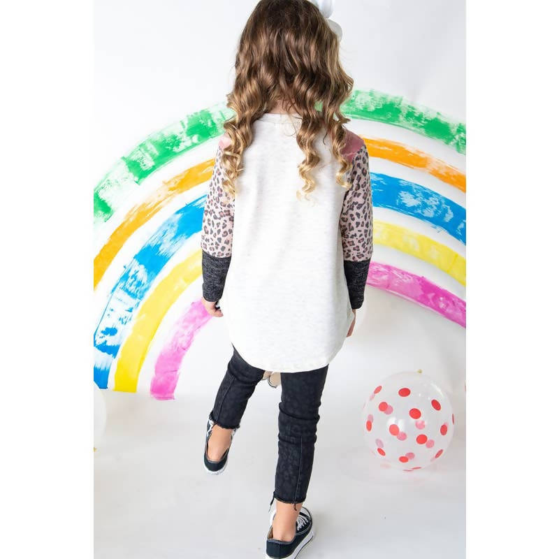 GIRLS ANIMAL PRINT SLEEVES TOP