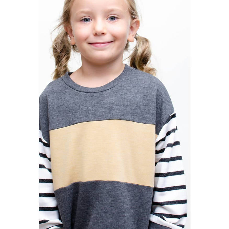 GIRLS COLOR BLOCK STRIPED SLEEVE TOP