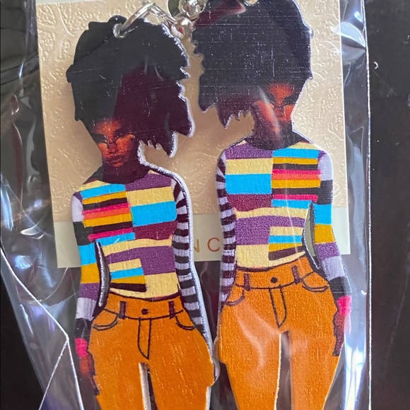 African American Black Woman Wooden Earrings