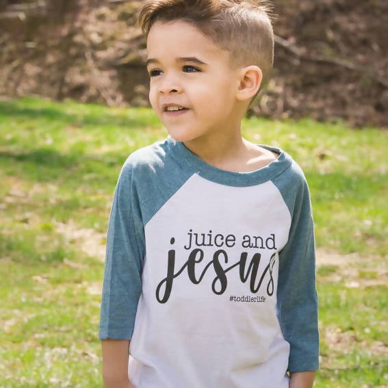 Juice and Jesus Toddler Tee - Baseball Tees Unisex