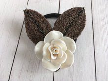 Load image into Gallery viewer, White Rose Elastic Hair Tie