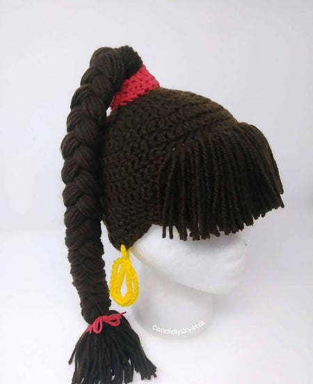 SheBang Hat - crochet wig hat- unique hat - ponytail hat - #shebanghat