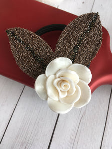 White Rose Elastic Hair Tie