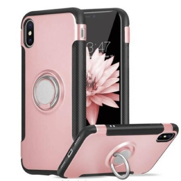 Silver iPhone X/XS Phone Case with Kickstand