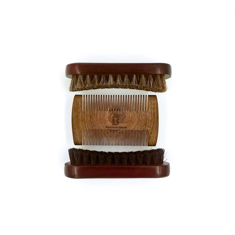 Wooden Brush and Sandalwood Comb Set