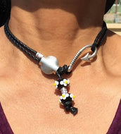 Braidloc Vegan Leather Hair tie Necklace with Daisies