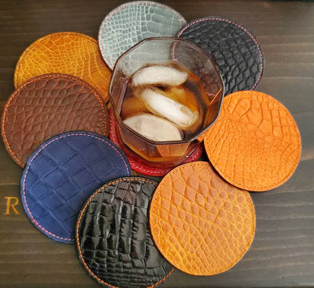 Leather Alligator Coasters