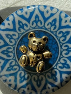 Blue Mosaic Decoupage Elasic Hair Tie with Antique Gold Bear