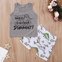 Load image into Gallery viewer, Letter Print Tank and Dinosaur Print Shorts Toddler Set