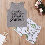 Letter Print Tank and Dinosaur Print Shorts Toddler Set
