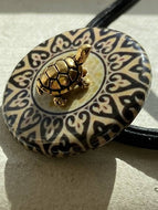 Mosaic Decoupage Elastic Hair Tie with Antique Gold Turtle
