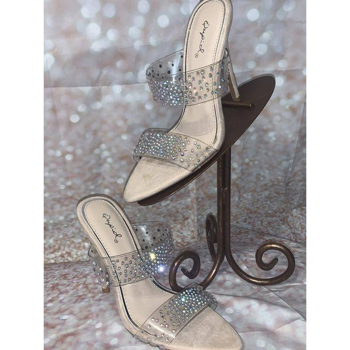 Nude Heel with Clear & rhinestones Strap