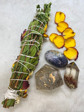 Load image into Gallery viewer, Ceremonial Ritual Smoke Wand - Myrtle Rose Chrysanthemum Smoky Citrine