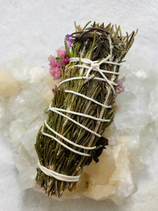 Floral Beauty Wand - Rosemary Statice Rose Carnation