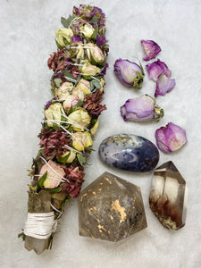 Ceremonial Ritual Smoke Wand - Eucalyptus Rose Liatris Carnation Smoky Citrine
